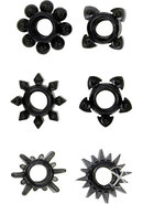 Tower Of Power Cock Rings 6 Pack Black