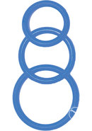 Super Silicone Cockrings Set Of 3 Rings Waterproof Blue