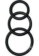 Super Silicone Cockrings Set Of 3 Rings Waterproof Black