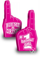 Number 1 Birthday Girl Party Foam Finger 18 Inch Pink