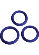 Trinity Vibes 3 Piece Silicone Erection Rings Blue
