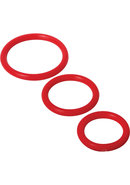 Trinity Vibes 3 Sizes Silicone Cock Rings Red